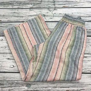 Anthropologie DREW Striped Linen Wide Leg Pant NEW